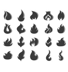 fire flames set on white background vector image