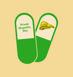 Flat icon on theme world hepatitis day pills vector