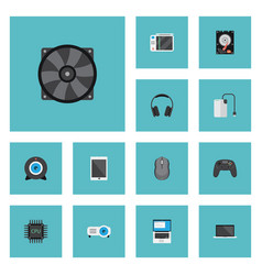 flat icons cooler controller monitor and other vector image