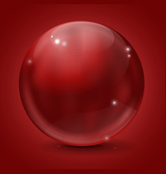 glass sphere red shiny ball on red background vector image