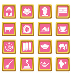 India travel icons pink vector