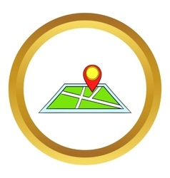 Map with pin pointers icon cartoon style vector