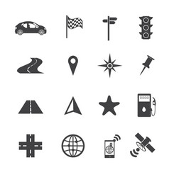 navigation icons set on texture background vector image vector image
