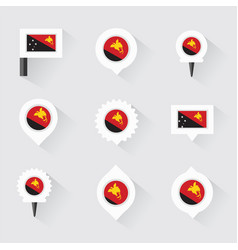 Papua new guinea flag and pins for infographic vector