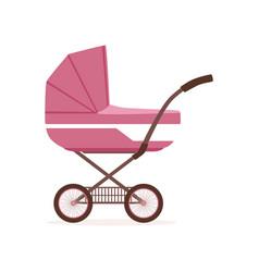 Pink baby pram or stroller safe transportation of vector