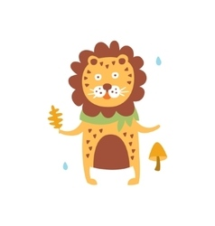 Polka-dotted lion in scarf holding oak leaf in vector