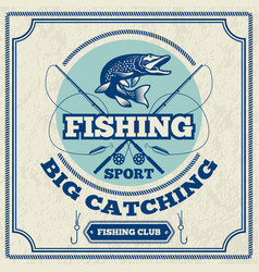 poster for fishing club monochrome vector image