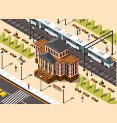 Railway station building composition vector