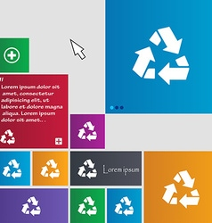 Recycle icon sign buttons modern interface website vector