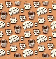 Tea and coffee pattern doodle smiley cups on vector
