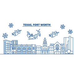 Usa california fort worth winter city skyline vector