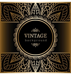 Vintage gold lacy background vector image