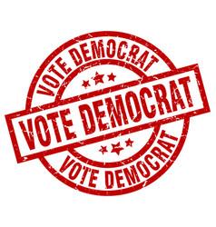 Vote democrat round red grunge stamp vector