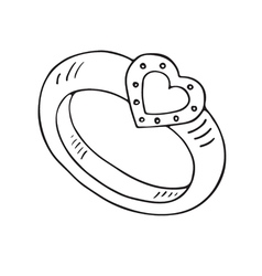 Wedding ring icon with heart vector