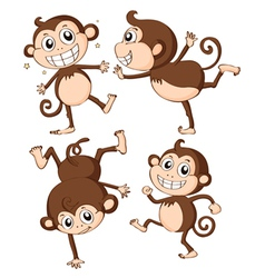 Four monkeys vector