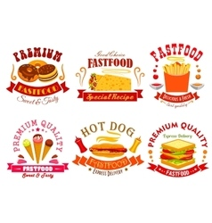 Fast food menu icons labels emblems set vector