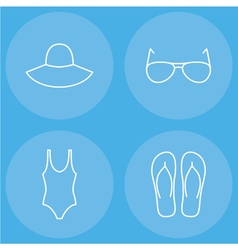 Womens beachwear outline icon set vector