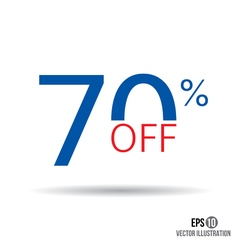 70 sale Price off icon with 70 percent discount vector image