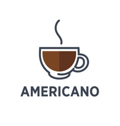 Coffee americano drink steam cup flat cafe vector