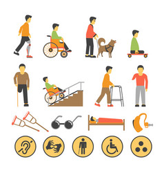 Disabled people and necessary equipments with vector