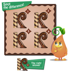Spot the difference letters k vector