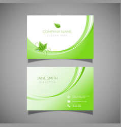 Business card with leaf design vector