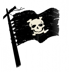 Grunge pirate flag vector