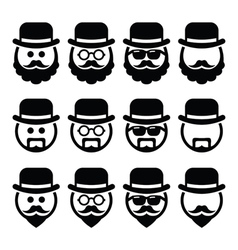 Man in hat with beard and glasses icons set vector image