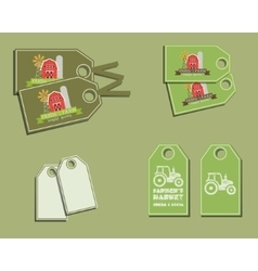 Set of organic labels - stickers for natural farm vector