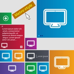 Monitor icon sign buttons modern interface website vector
