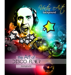 Disco club flyer template for your music nights vector