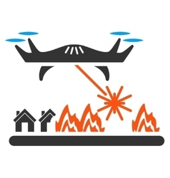 Laser drone attacks village icon vector
