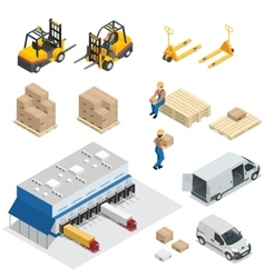 Set of warehouse equipment shipping and delivery vector