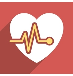 Heart pulse flat long shadow square icon vector