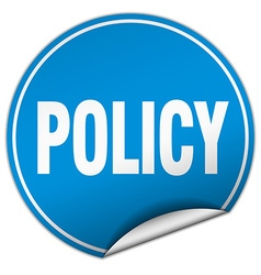 Policy round blue sticker isolated on white vector