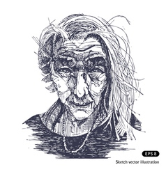 Portrait of a smiling old woman vector
