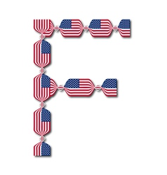 Letter F made of USA flags in form of candies vector image