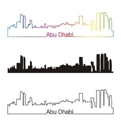 Abu Dhabi skyline linear style with rainbow vector image