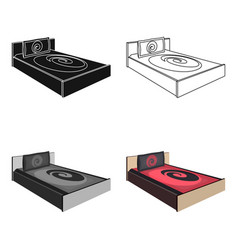 bed with beautiful red patternsbed single icon in vector image