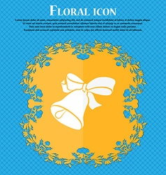 Bell icon floral flat design on a blue abstract vector