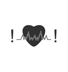 black icon on white background heart with cardio vector image