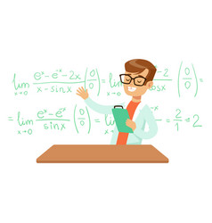 Boy explaining mathematic formula kid doing math vector
