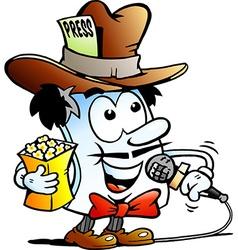 Cartoon of a happy editor paper reporter mas vector