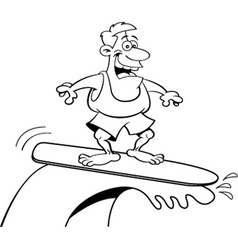 Cartoon smiling man surfing vector image vector image