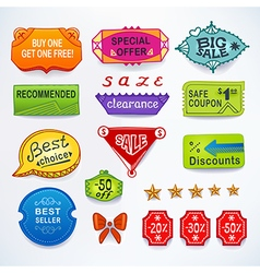 Colored set of promotional sales english text vector