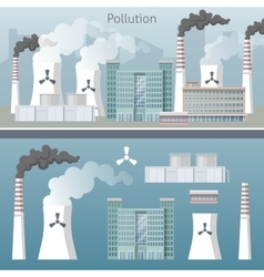 Energy industry air pollution cityscape vector