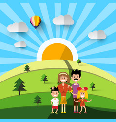Family on field natural landscape vector