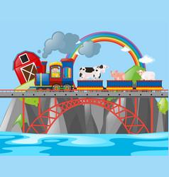 Farmer and animals on the train vector