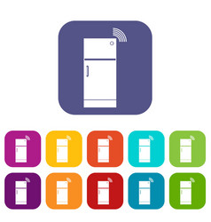 Fridge icons set flat vector