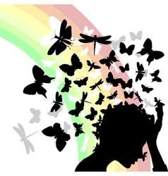 girl butterflies vector image vector image
